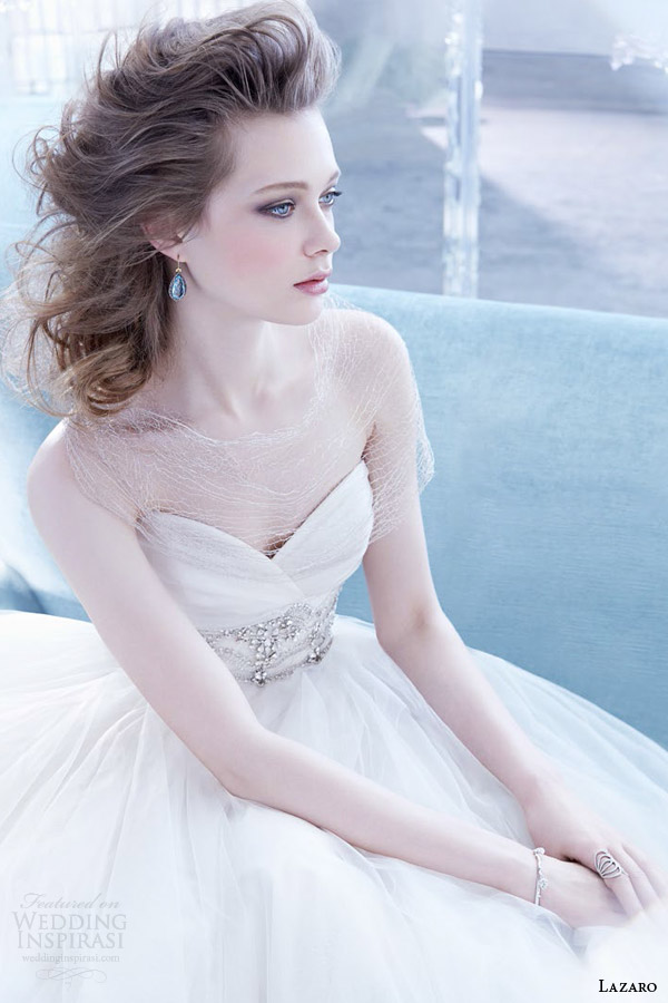 lazaro bridal fall 2014 strapless wedding dress surplice sweetheart neckline style 3453 champagne or ivory color