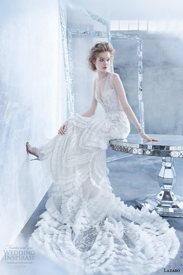 lazaro fall 2014 bridal sleeveless art deco inspired slip wedding dress v neckline style lz 3454