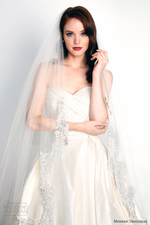 modern trousseau bridal fall 2015 catalina veil shown with mina strapless wedding dress
