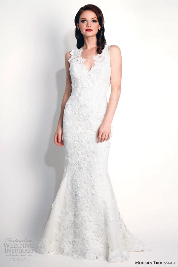 modern trousseau bridal fall 2015 kasey sleeveless guipure lace sheath gown