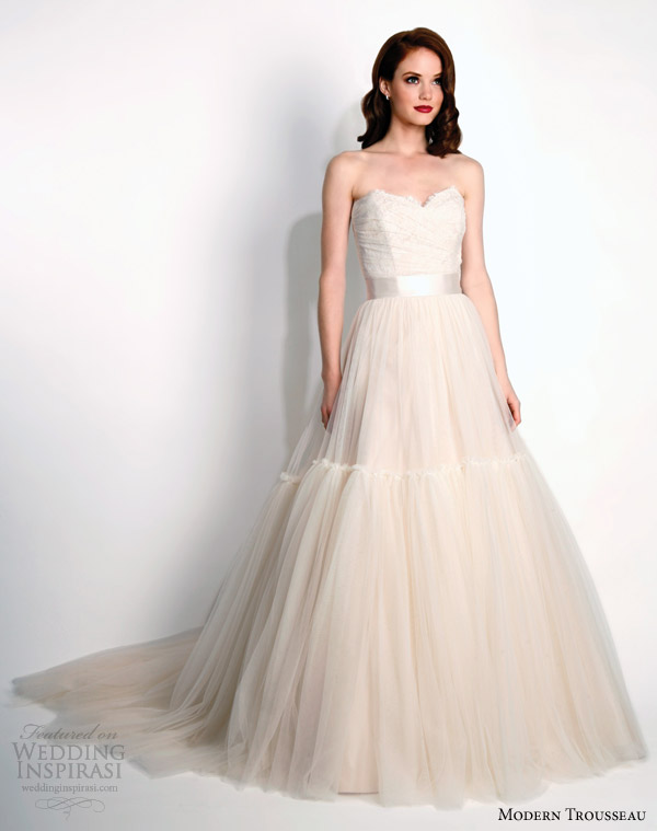 modern trousseau bridal fall 2015 layla strapless blush wedding dress train