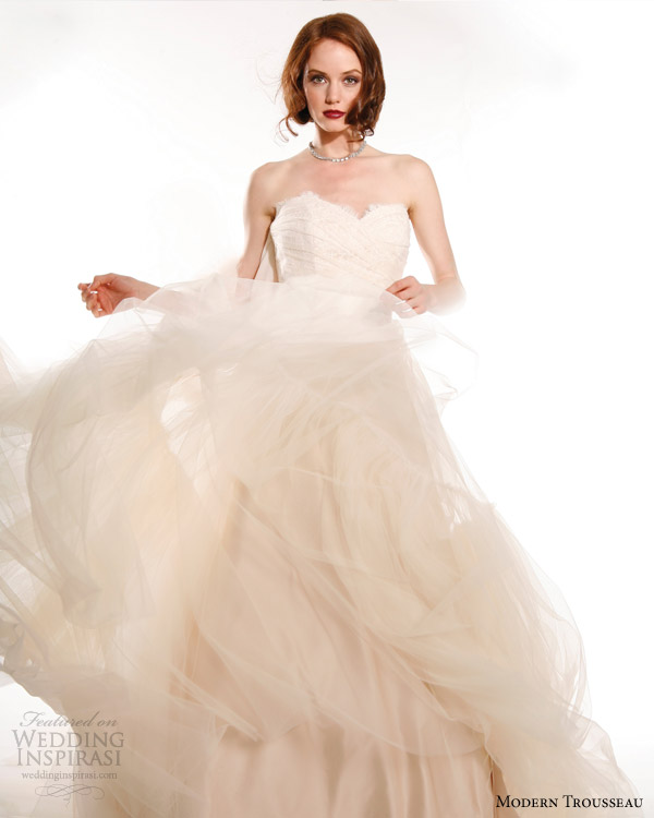 modern trousseau bridal fall 2015 layla strapless blush wedding dress