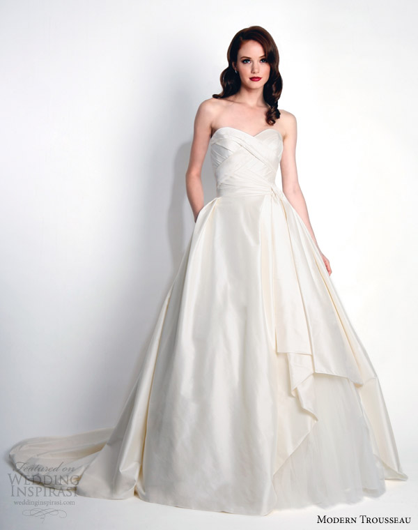 modern trousseau bridal fall 2015 mina strapless thai silk ball gown wedding dress