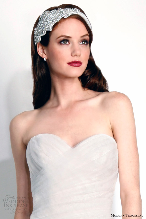 modern trousseau fall 2015 bridal ada strapless wedding dress close up bodice bliss headband