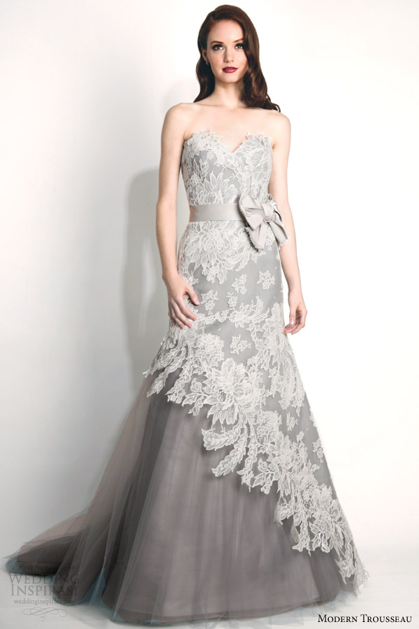 modern trousseau fall 2015 bridal storm strapless french alencon lace wedding dress oversized bow gray tulle skirt