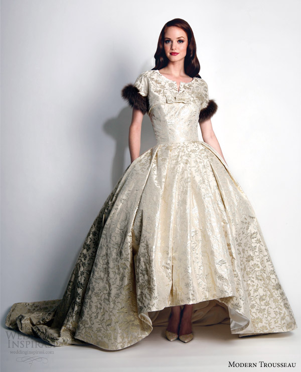 modern trousseau wedding dresses fall 2015 pride gold brocade ball gown matching jacket fur trim