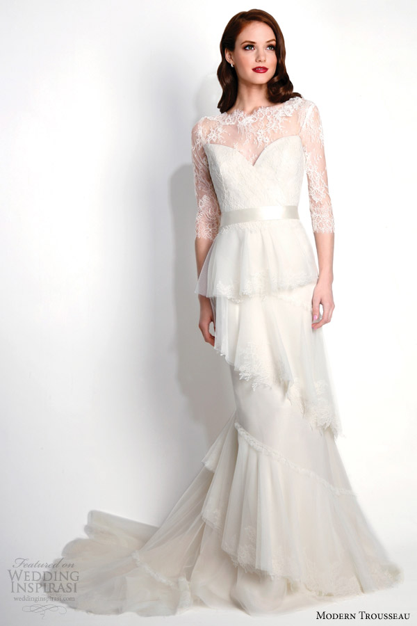 modern trousseau wedding dresses fall 2015 raven couture strapless bridal gown with matching lace jacket