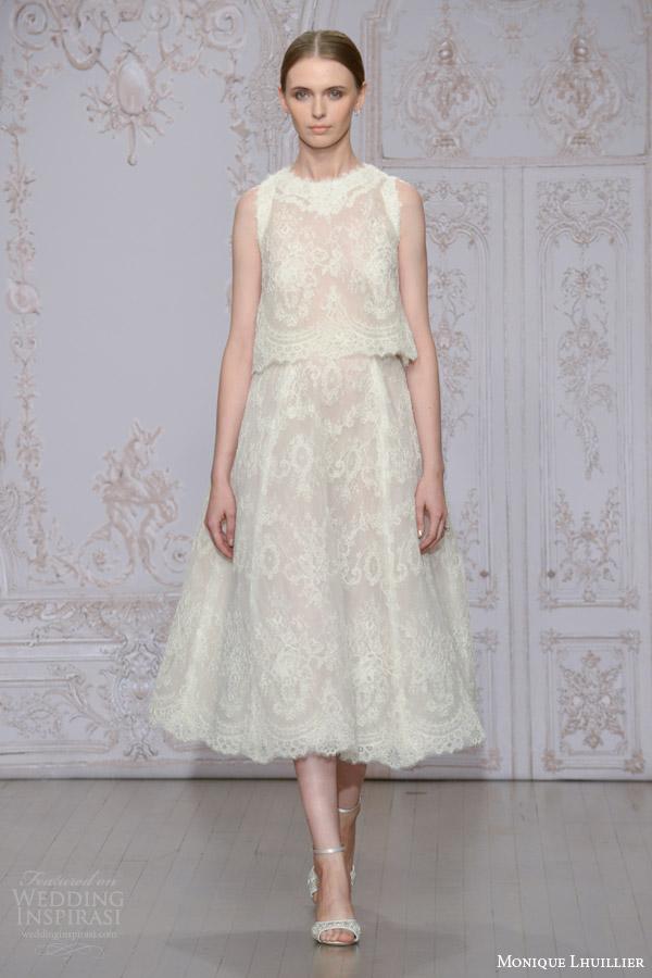 monique lhuillier bridal fall 2015 charlotte two piece wedding dress sleeveless top tea length a line skirt
