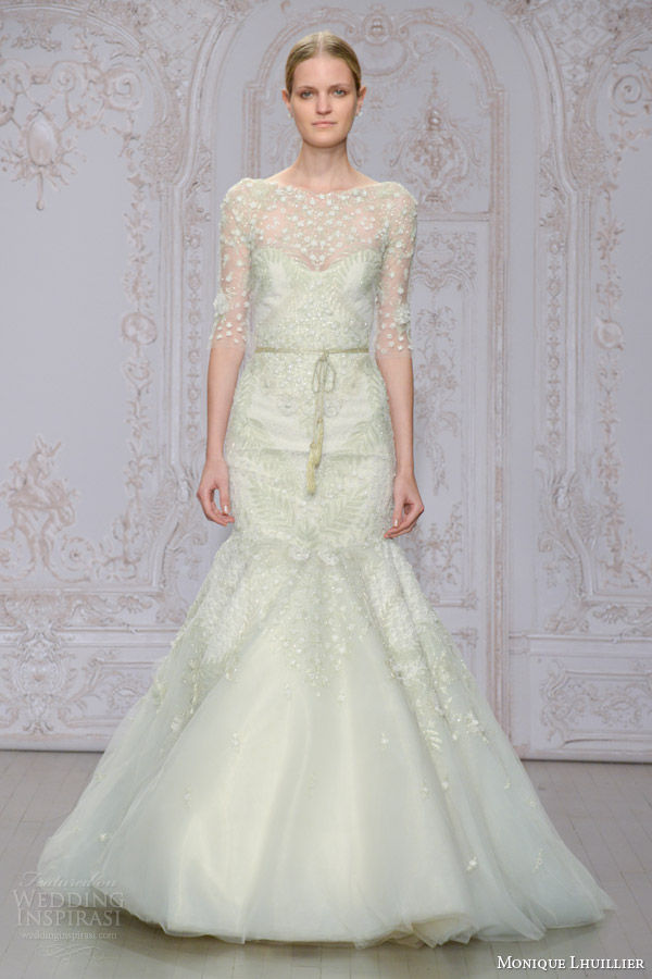 monique lhuillier bridal fall 2015 frost three quarter sleeve embroidered tulle mermaid wedding dress