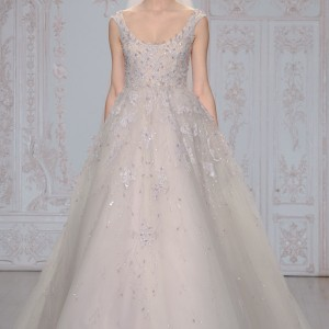 monique lhuillier bridal fall 2015 moonlit sleeveless lavender tulle ball gown wedding dress straps scoop neckline floral embellishments