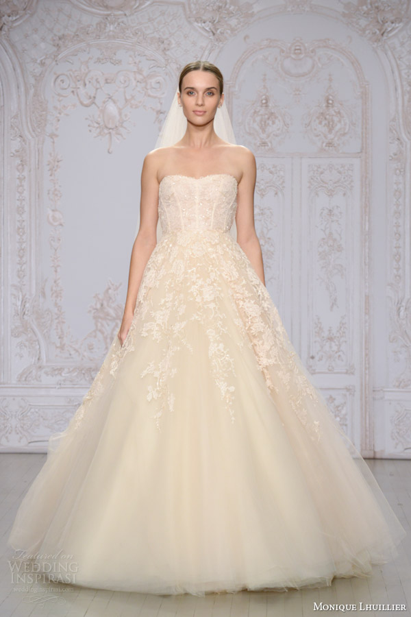 monique lhuillier bridal fall 2015 paradise strapless sweetheart ball gown wedding dress embroidered lace