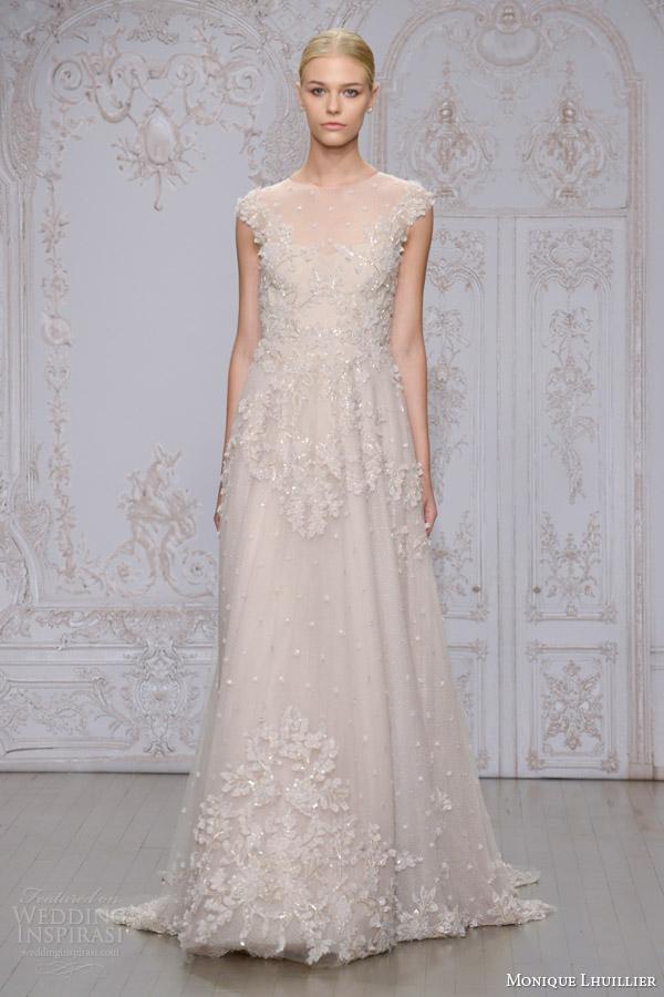 monique lhuillier bridal fall 2015 primrose embellished lace tulle cap sleeve a line wedding dress
