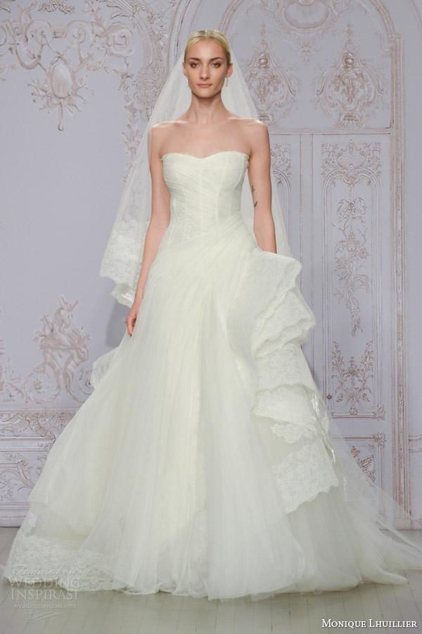 monique lhuillier bridal fall 2015 whisper strapless tulle lace ball gown wedding dress cascading horsehair skirt