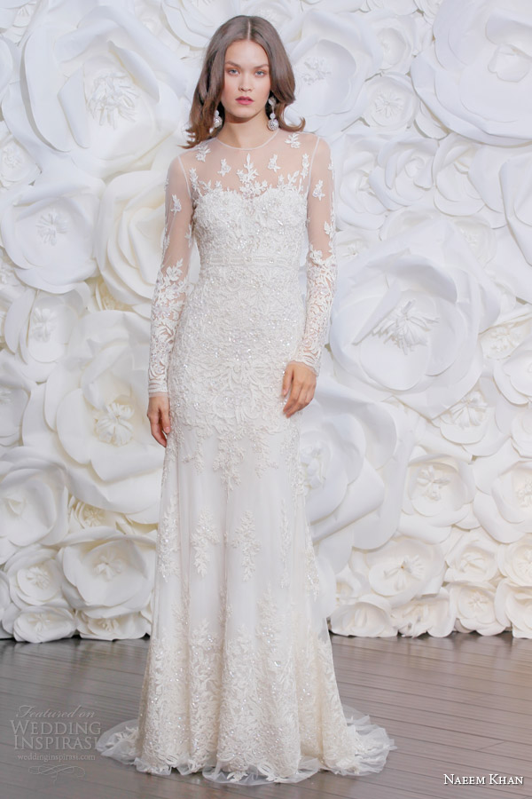 Naeem khan bridal fall 2015 wedding dresses wedding for Long sleeve beaded wedding dress