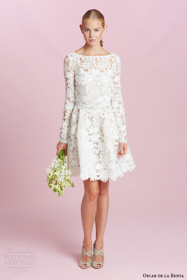 Oscar De La A Bridal Fall 2017 Long Sleeve Guipure Lace Short Wedding Dress