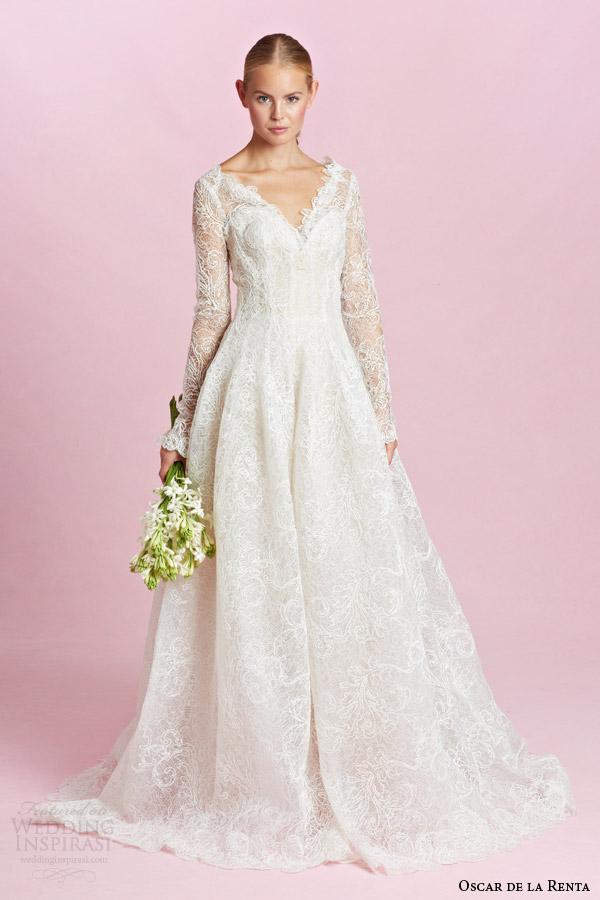 oscar de la renta bridal fall 2015 long sleeve lace ball gown wedding dress v neckline