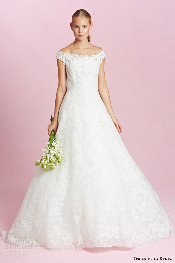 oscar de la renta bridal fall 2015 off shoulder straps a line wedding dress