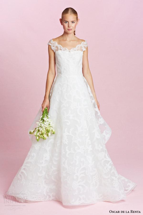 oscar de la renta bridal fall 2015 off the shoulder lace a line wedding dress
