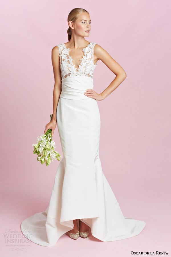 oscar de la renta bridal fall 2015 sleeveless column wedding dress illusion straps v neckline bodice