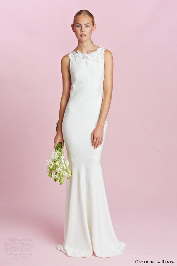 oscar de la renta bridal fall 2015 sleeveless sheath wedding dress illusion portrait back