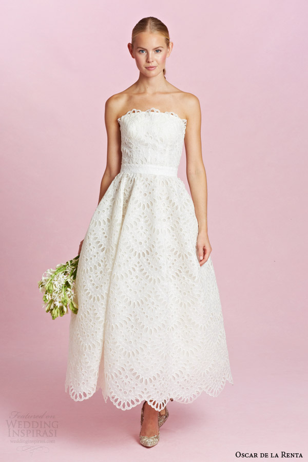 Oscar De La A Bridal Fall 2017 Strapless Tea Length Eyelet Short Wedding Dress