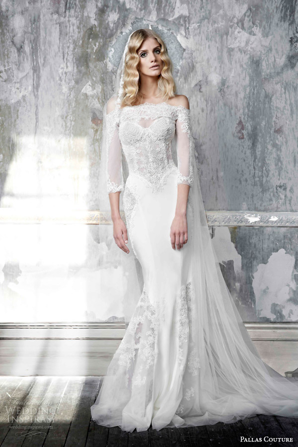 pallas couture 2015 arlette off shoulder sheath wedding dress three quarter sleeves