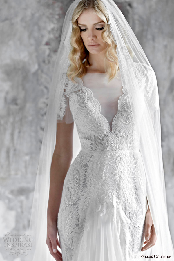 pallas couture 2015 asselina v neck short sleeve wedding dress lace detail contouring over hips front slit close up