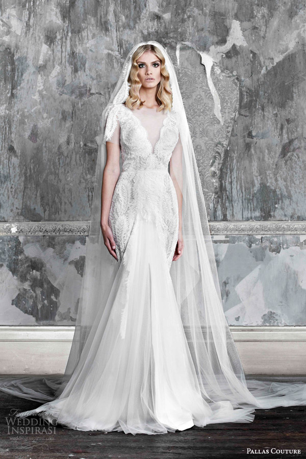 pallas couture 2015 asselina v neck short sleeve wedding dress lace detail contouring over hips front slit