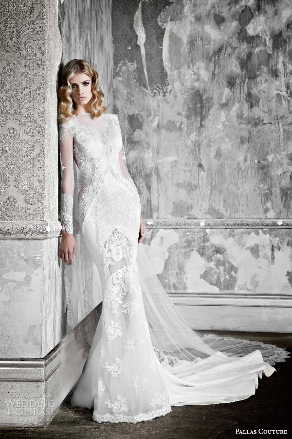 pallas couture 2015 la promesse bridal collection halette long sleeve french lace contoured sheath wedding dress
