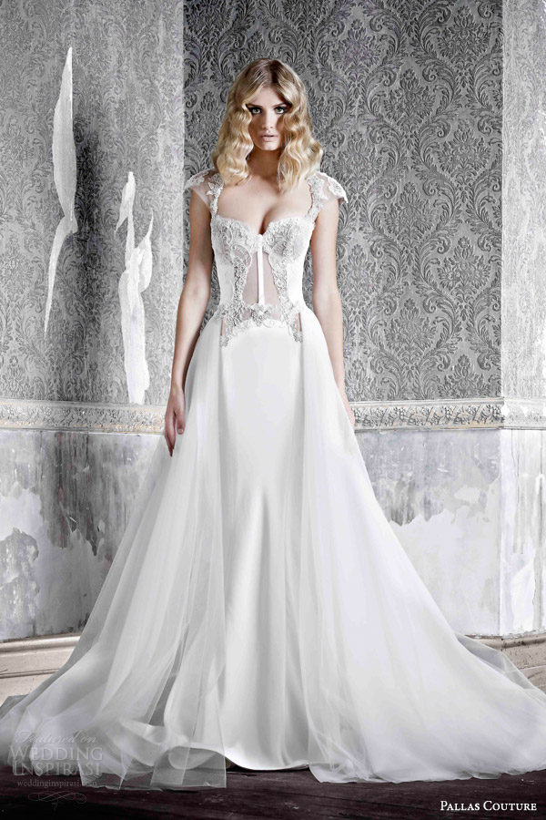 pallas couture bridal 2015 angele silk crepe cap sleeve wedding dress with hand applique lace detail transparent bodice overskirt
