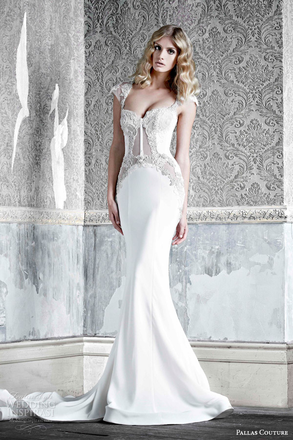 pallas couture bridal 2015 angele silk crepe cap sleeve wedding dress with hand applique lace detail transparent bodice