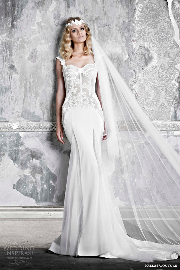 pallas couture bridal 2015 la promesse felice wedding dress transparent bodice with lace applique
