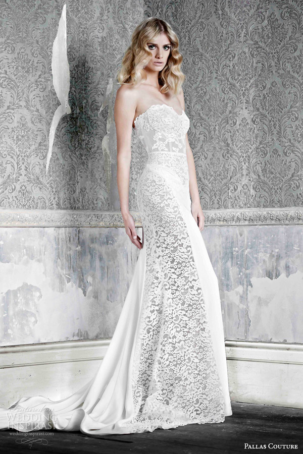 pallas couture wedding dresses 2015 emmie silk crepe strapless gown hand applique side panels with lace details