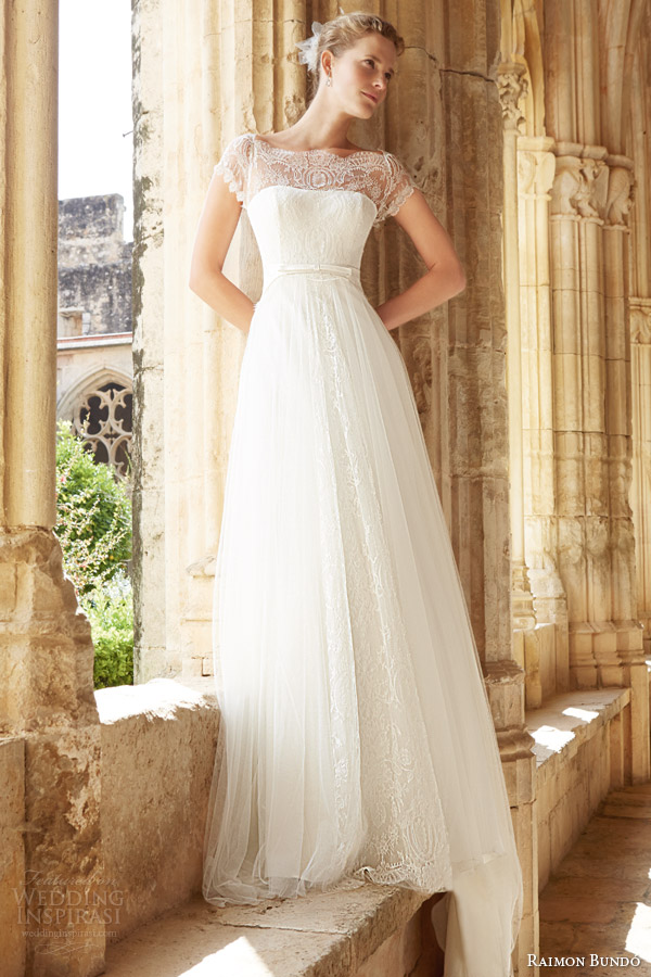 raimon bundo 2015 natural bridal collection mar cap sleeve wedding ...