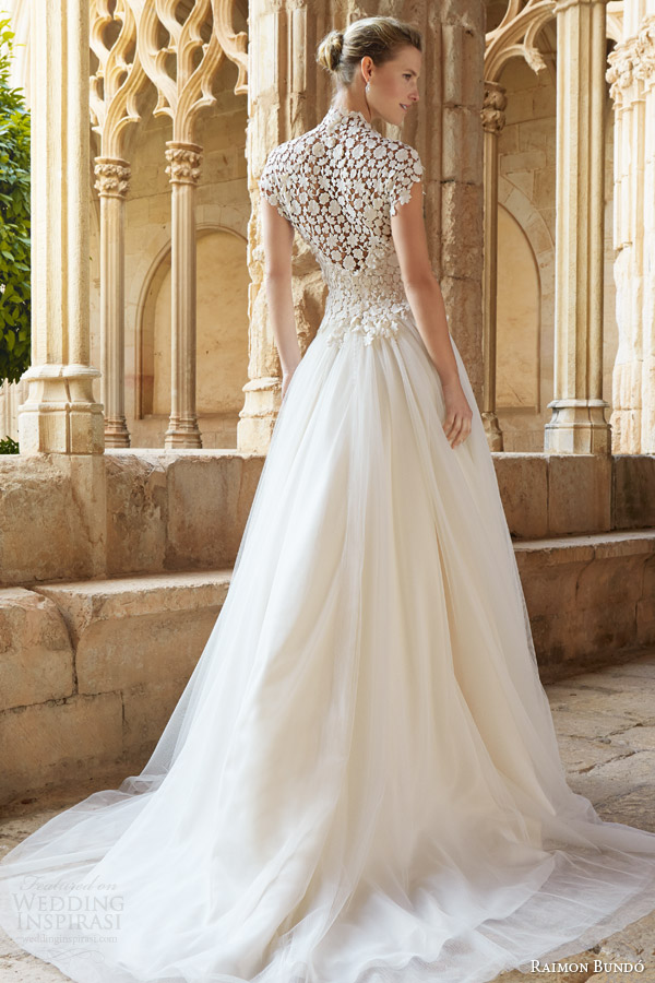 raimon bundo 2015 natural bridal collection musica cap sleeve wedding dress high neck lace bodice back view train