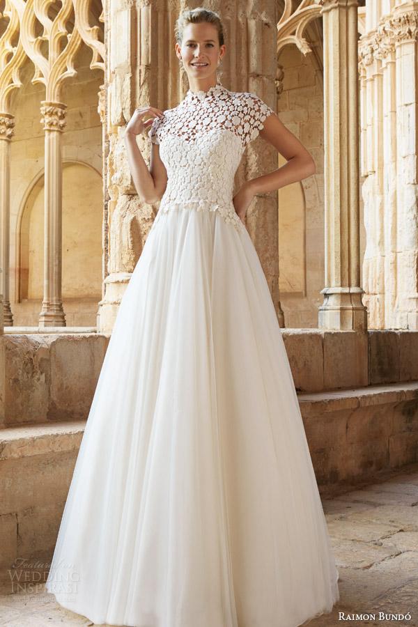 raimon bundo 2015 natural bridal collection musica cap sleeve wedding dress high neck lace bodice