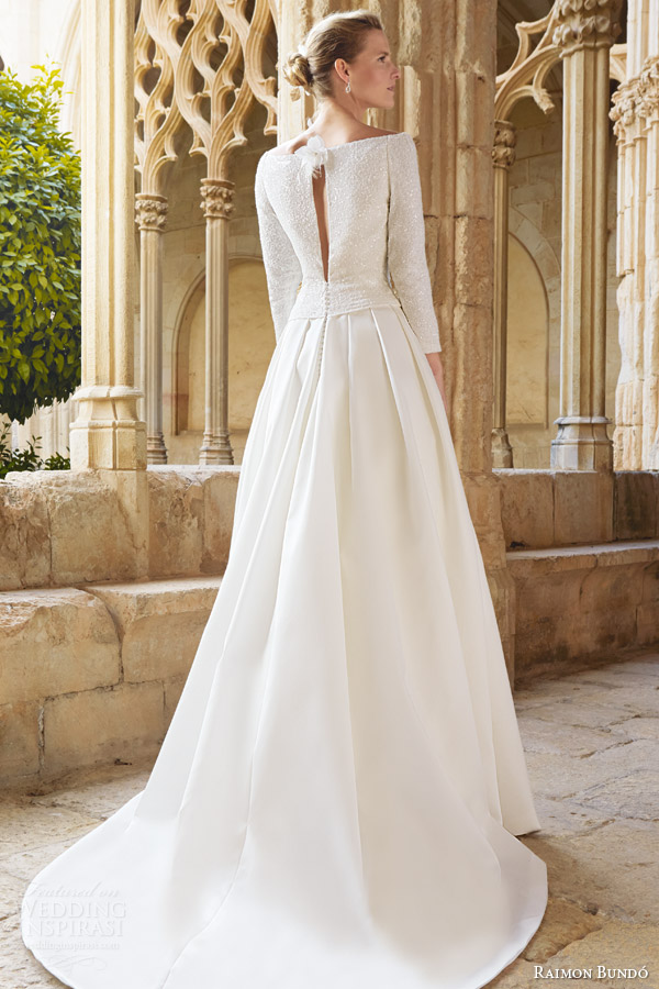 raimon bundo bridal 2015 maxim long sleeve bateau neckline wedding dress pleated skirt keyhole back view