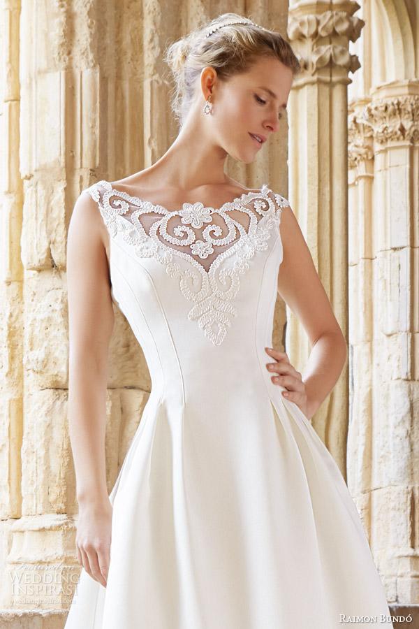 raimon bundo bridal 2015 natural collection montreal sleeveless wedding dress illusion neckline close up bodice