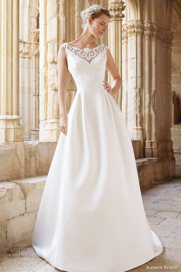 raimon bundo bridal 2015 natural collection montreal sleeveless wedding dress illusion neckline
