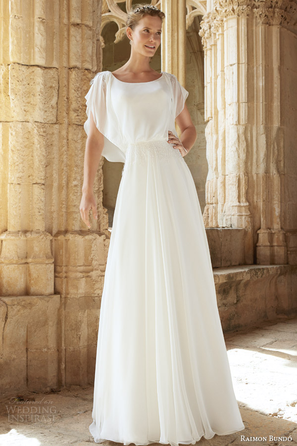 raimon bundo bridal 2015 natural monica flutter sleeve wedding dress