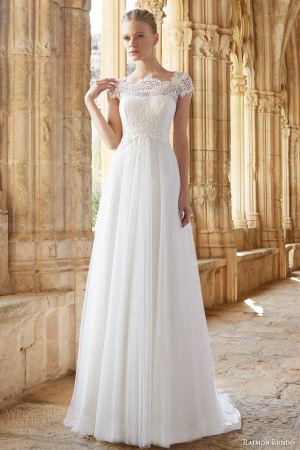 raimon bundo wedding dresses 2015 mimi cap sleeve gown lace bodice