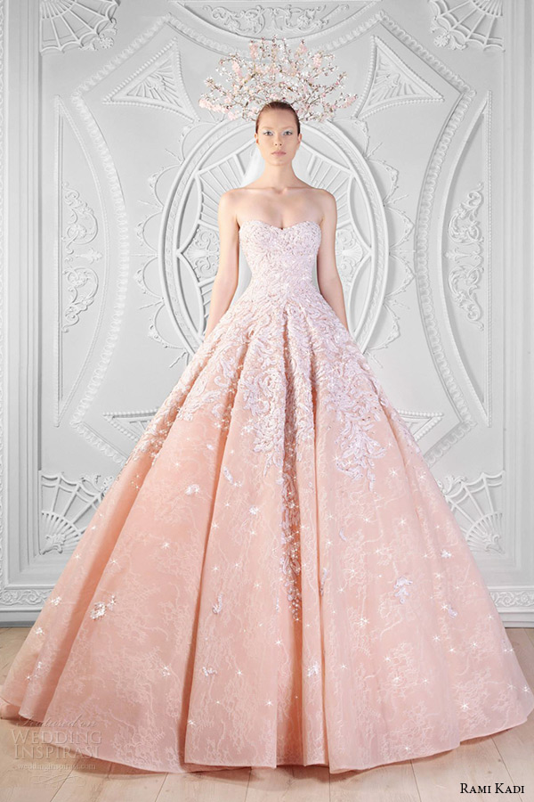 Rami Kadi Spring 2017 Couture Collection Hand Embroidered Sweetheart Neckline Strapless Peach Lace Tulle Ball Gown