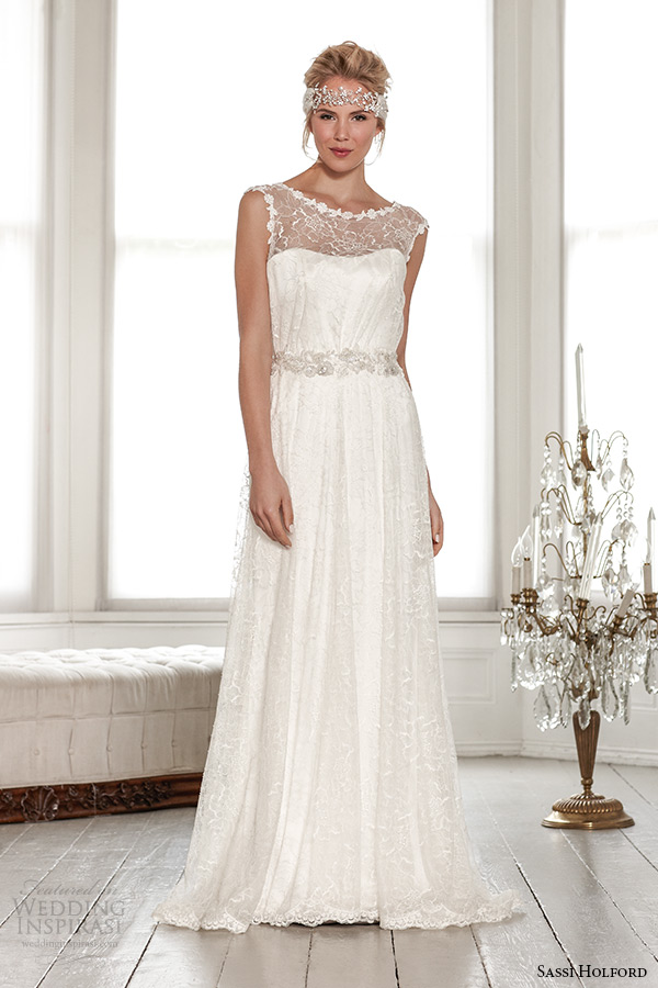 sassi holford wedding dress 2015 bridal signature collection boat illusion neckline a line dress with belt style maya