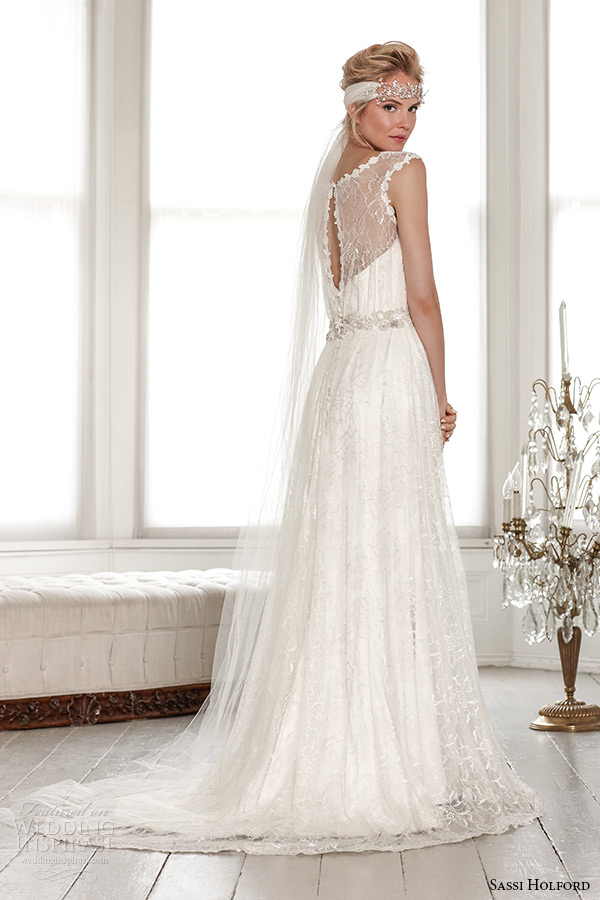 sassi holford wedding dress 2015 bridal signature collection boat illusion neckline keyhole back a line dress with belt style maya back