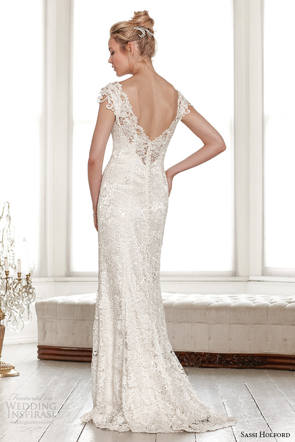 sassi holford wedding dress 2015 bridal signature collection boat lace neckline sleeveless lace sheath dress with v shaped open back style lindsay back