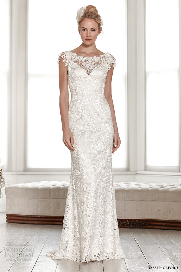 sassi holford wedding dress 2015 bridal signature collection boat lace neckline sleeveless lace sheath dress with v shaped open back style lindsay