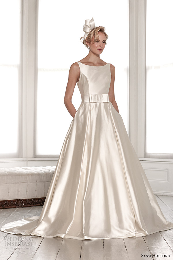 sassi holford wedding dress 2015 bridal signature collection boat neckline a line low cut back with pockets style bryony front