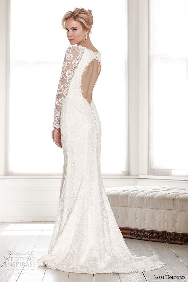 sassi holford wedding dress 2015 bridal signature collection boat neckline long sleeves keyhole back sheath dress style estelle back