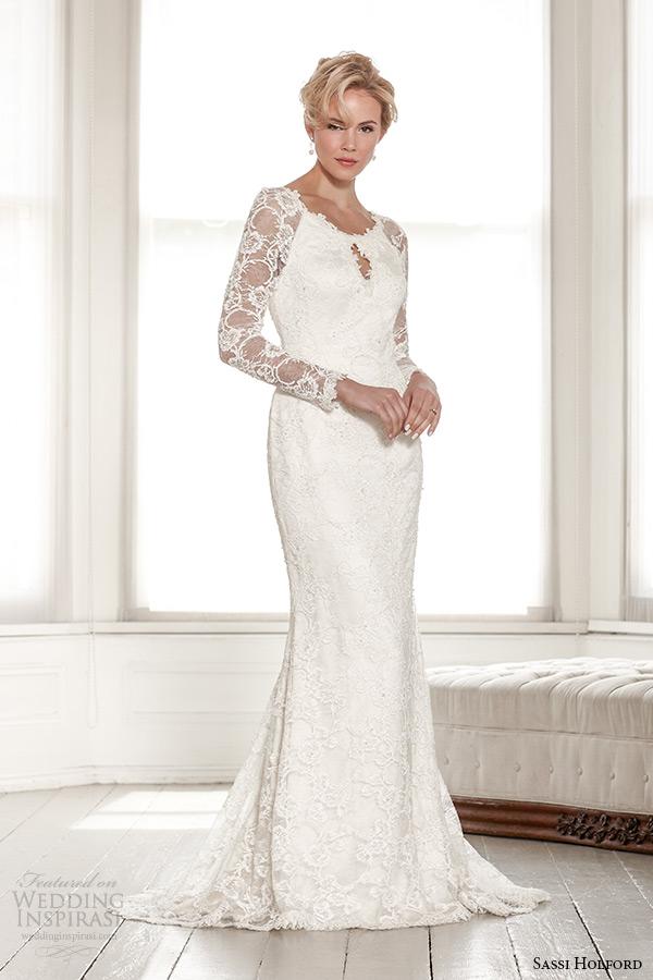 sassi holford wedding dress 2015 bridal signature collection boat neckline long sleeves keyhole back sheath dress style estelle