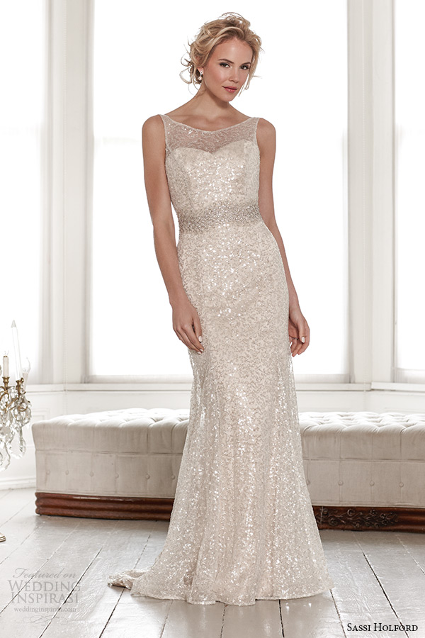 sassi holford wedding dress 2015 bridal signature collection boat neckline sleeveless shimmering sheath dress style leah